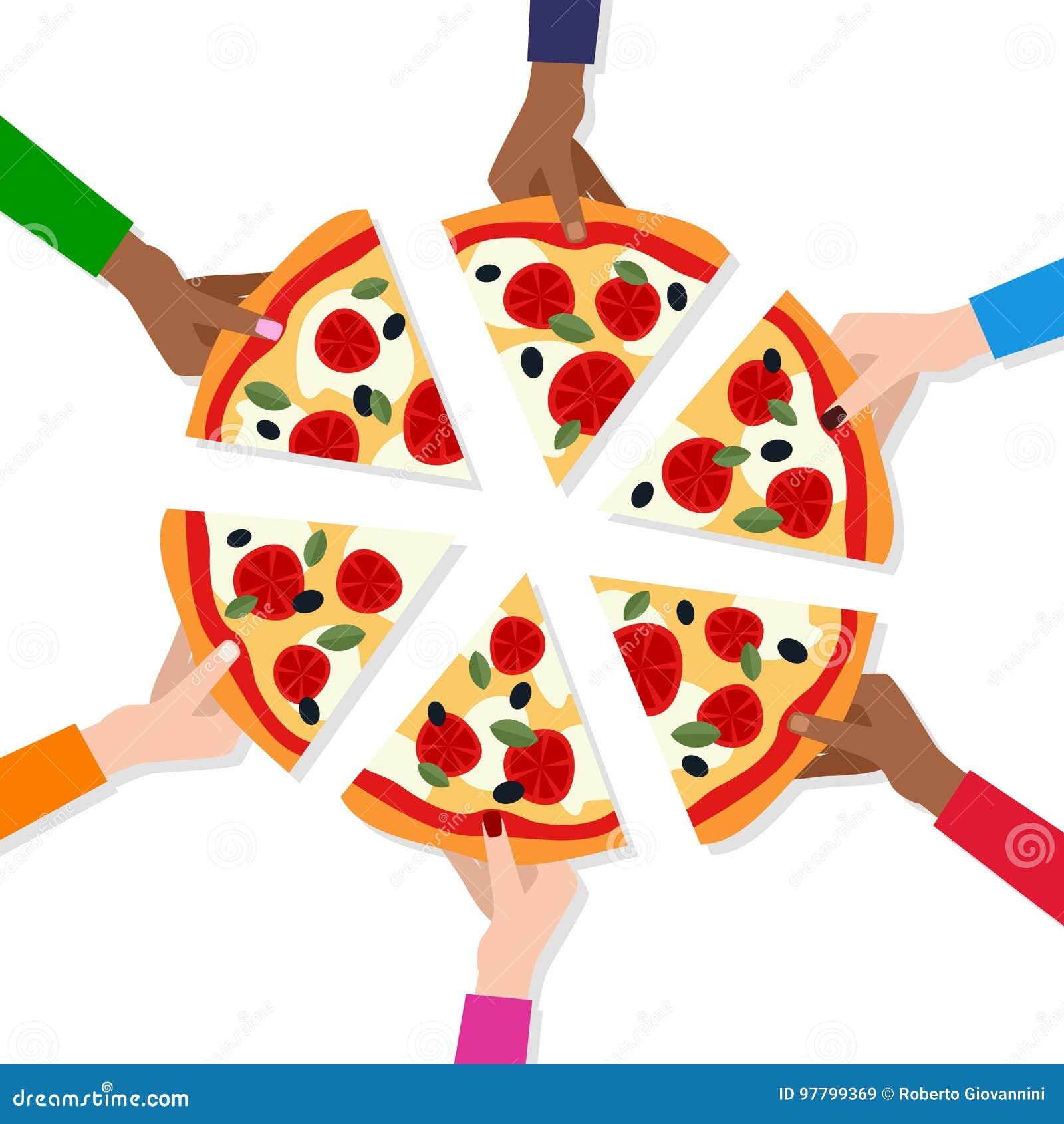 ` S людей вручает принимать куски пиццы