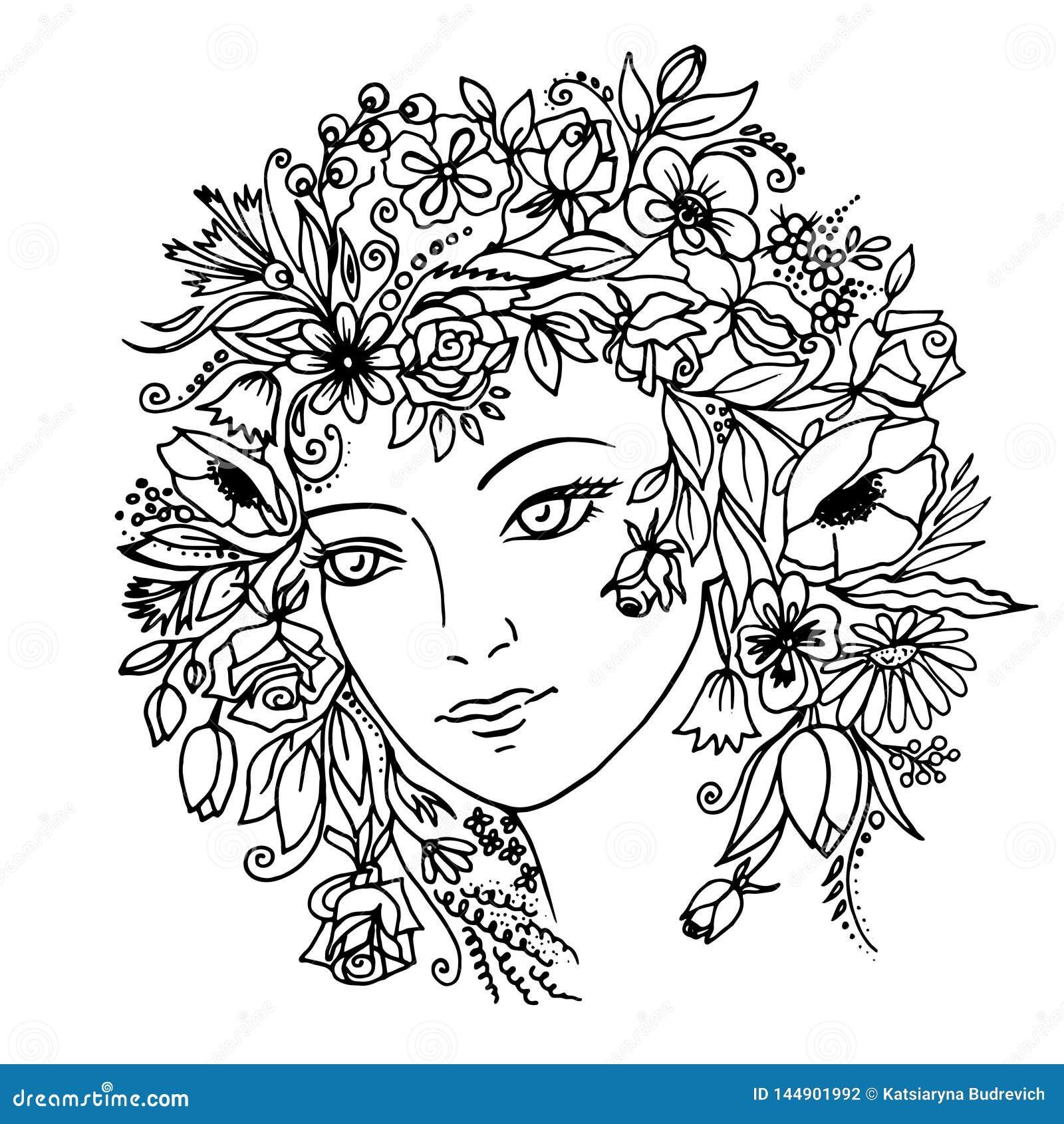 有花的女孩在她的头发 ??