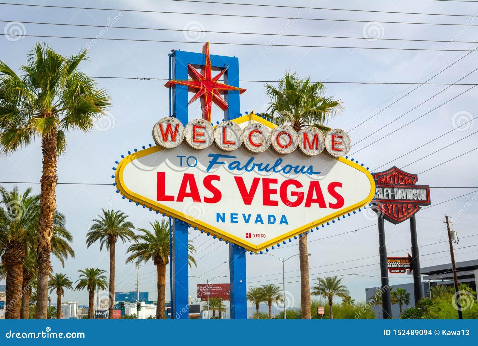 S?awny powitanie Bajecznie Las Vegas znak USA