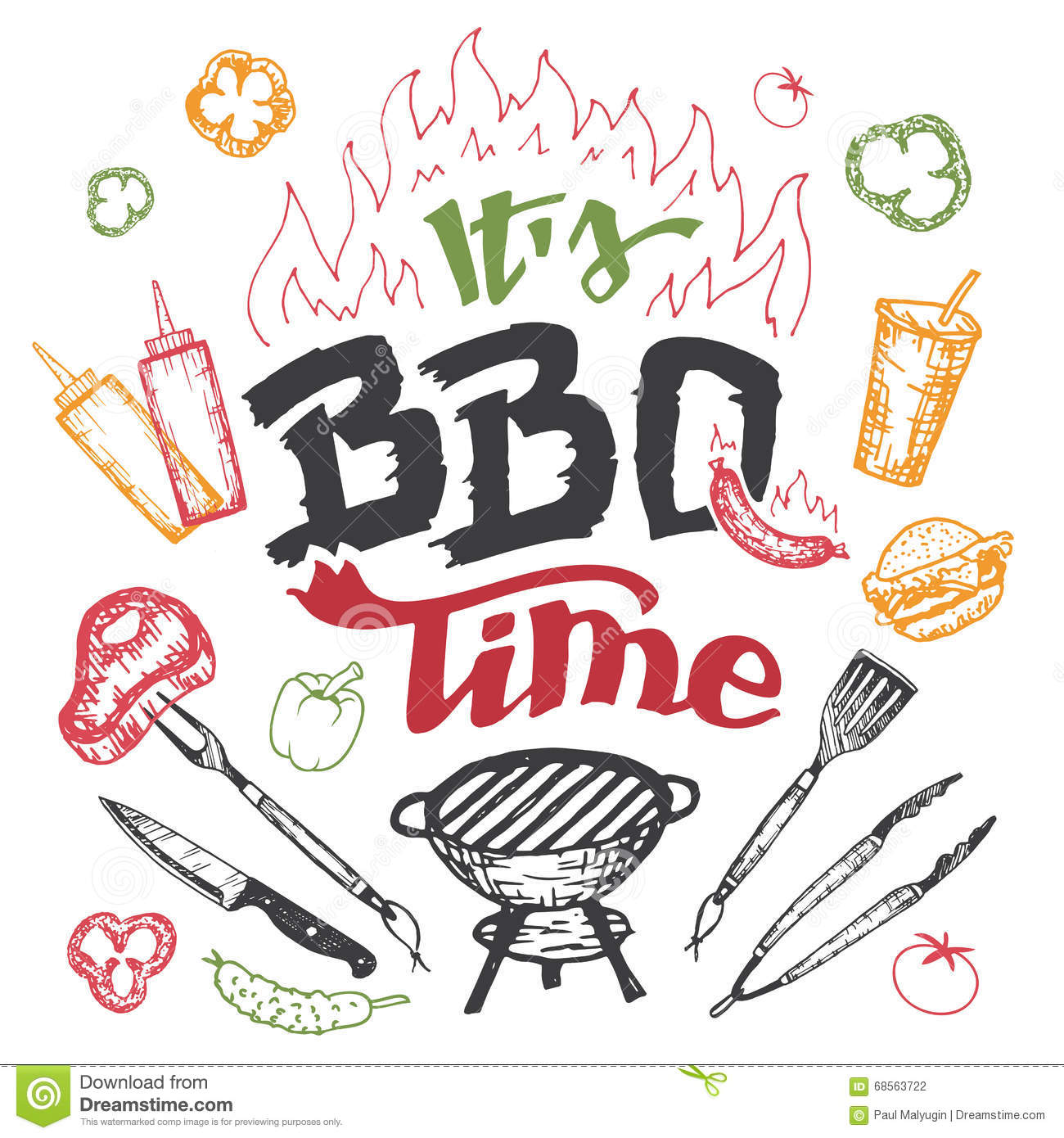 It S Barbecue Time Hand Drawn Elements Set Stock Vector
