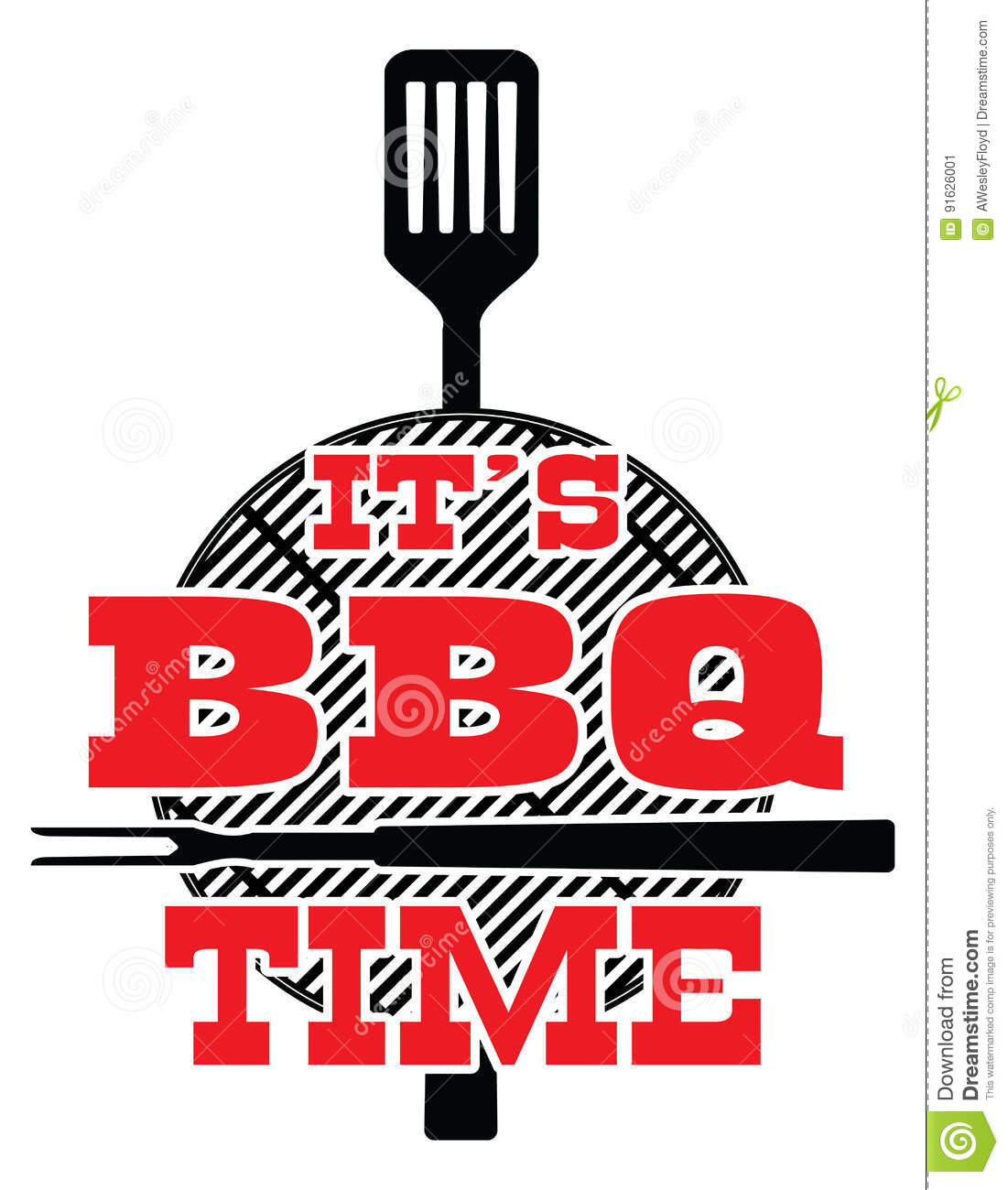 it s bbq time - vector stock vector