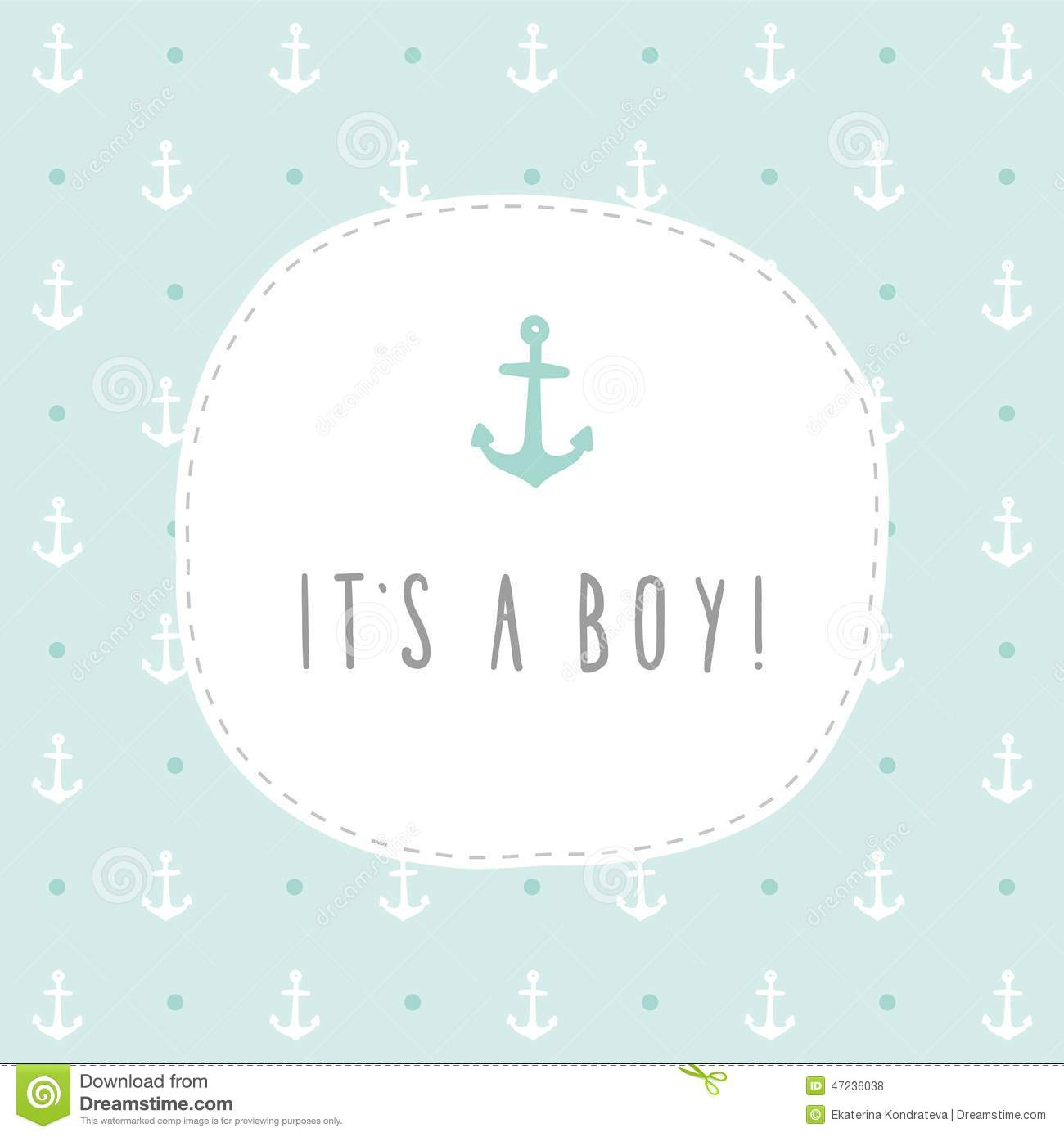 it s a boy anchor greeting card template illustration 47236038