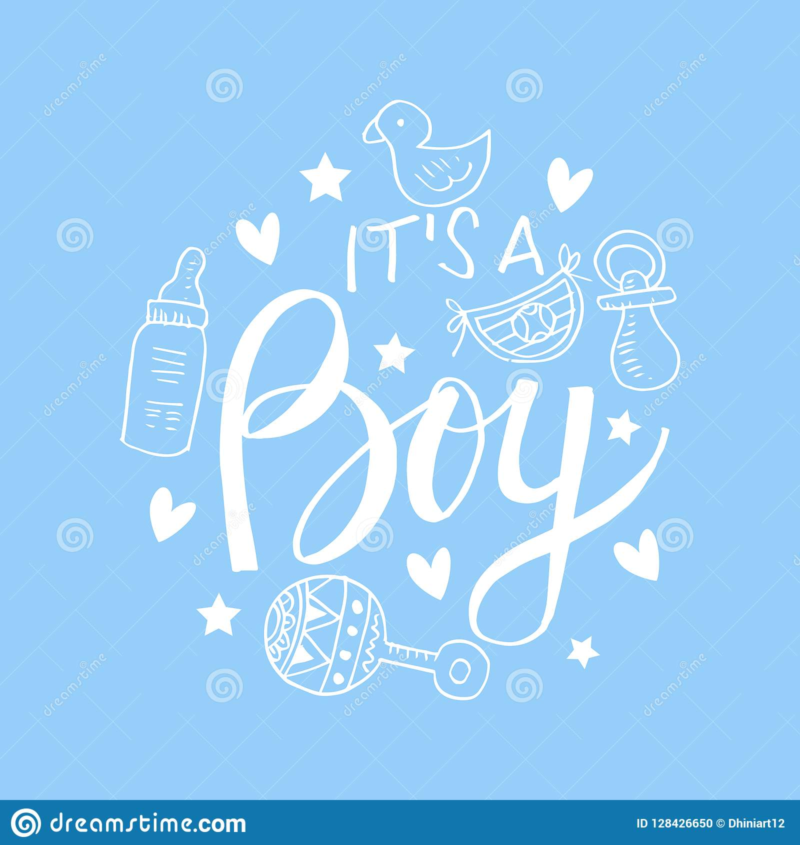 It S A Boy Baby Shower Invitation Card Stock Illustration