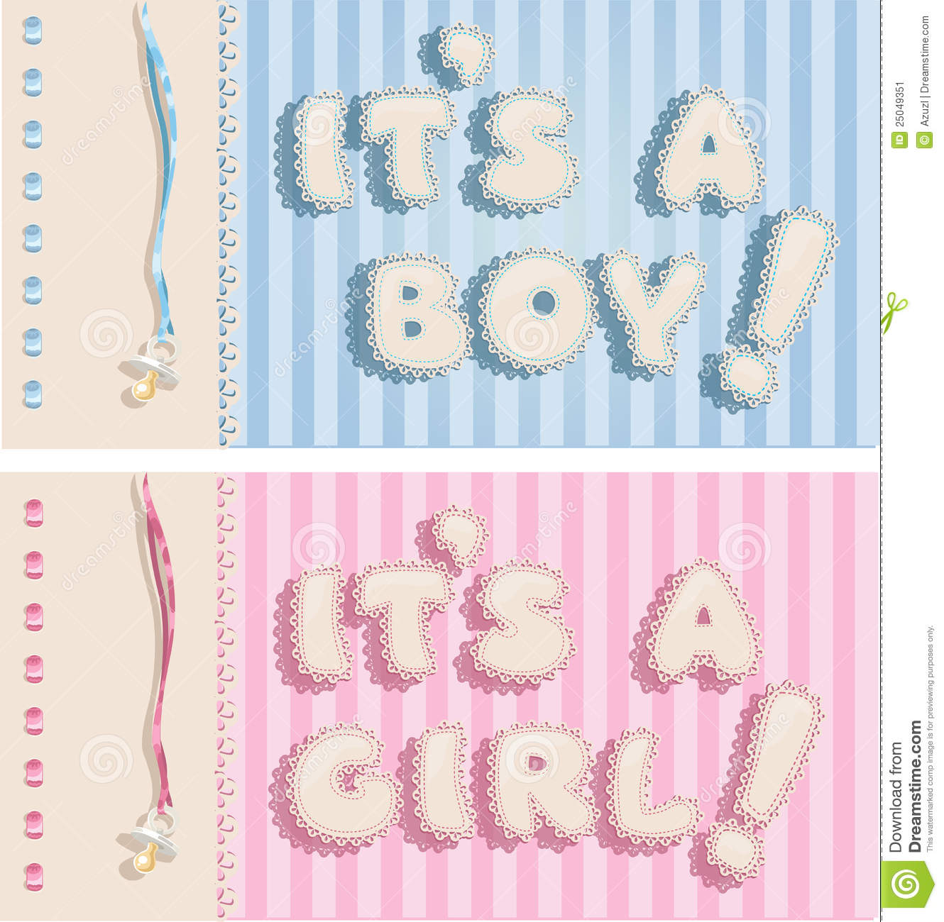 It`s A Boy And It`s A Girl Banners Stock Image - Image: 25049351