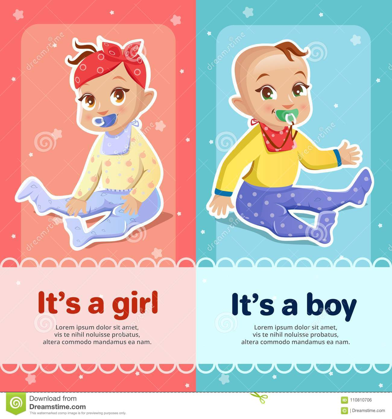 It S A Boy And It S A Girl Vector Illustration For Newborn Baby