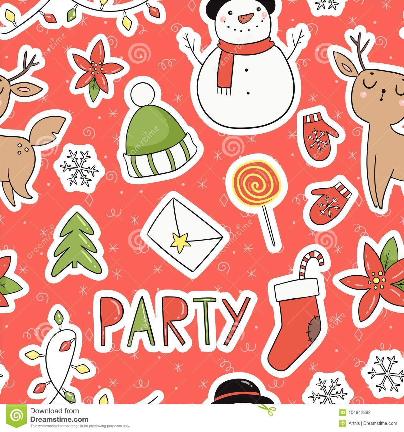 80s Christmas Party Seamless Pattern Stock Vector