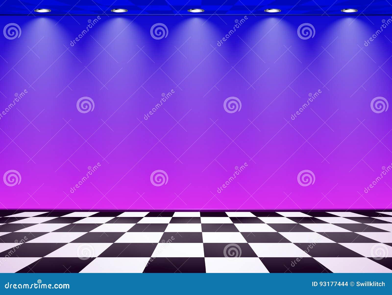 80s a dénommé la pièce de vague de vapeur avec le mur bleu et pourpre au-dessus du plancher vérifié