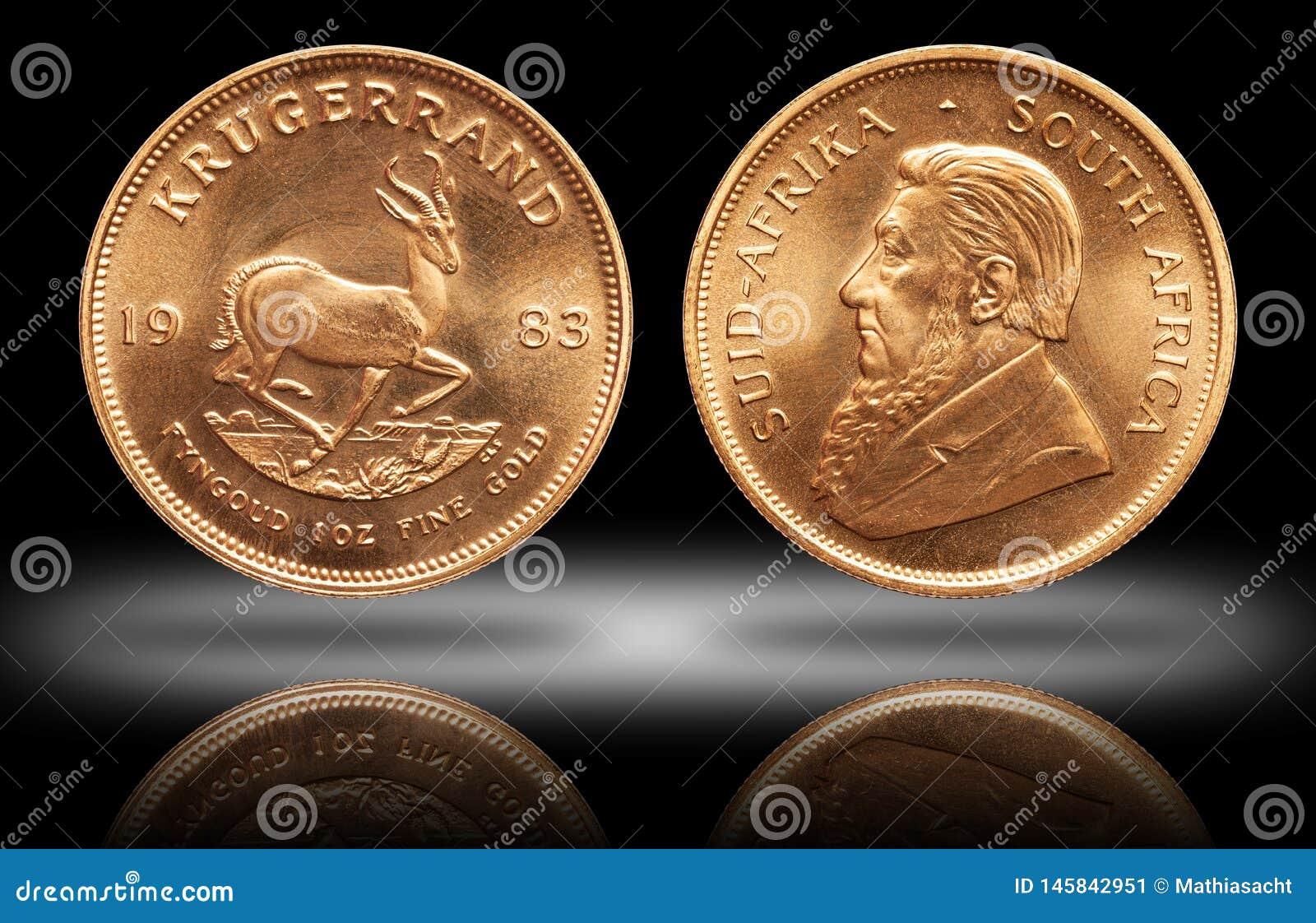 S?der - afrikansk krugerrand bakgrund f?r lutning f?r mynt 1 uns f?r guld- guldtacka
