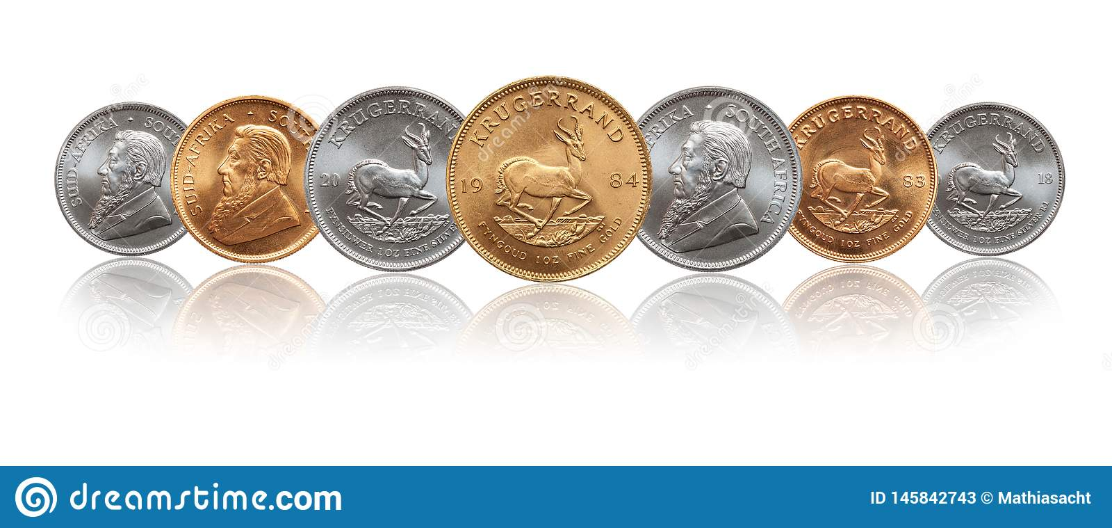 S?der - mynt f?r afrikansk krugerrandunssilver och f?r guld- guldtacka