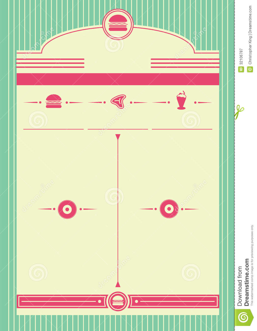 1950s Diner Style Background And Frame Stock Vector