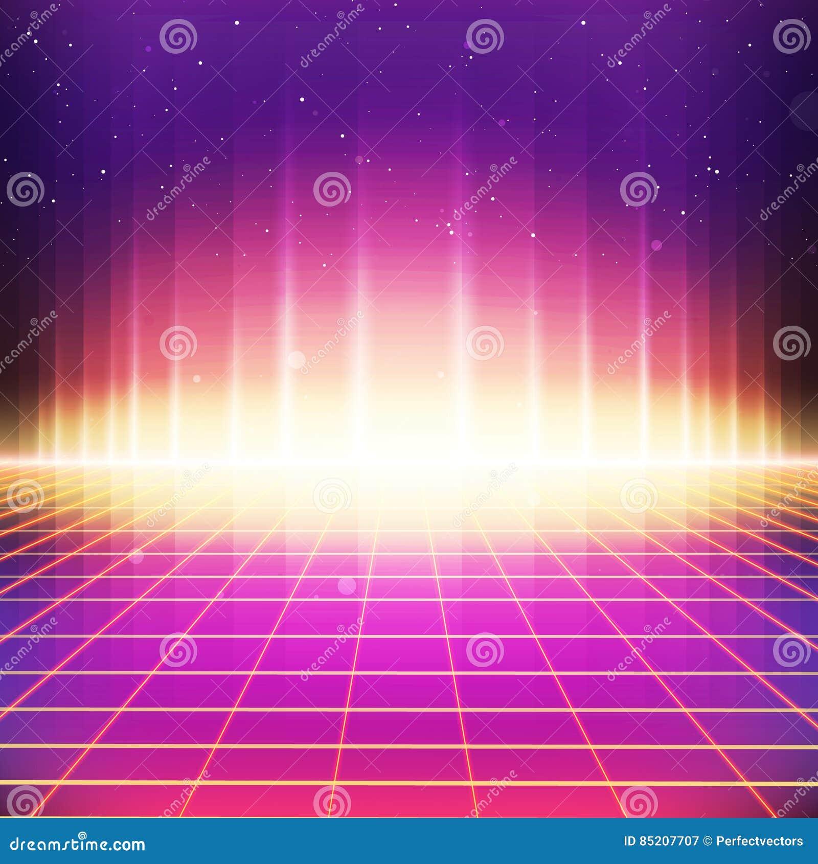80s fantastyka naukowa Retro tło z Kolorowymi skutkami