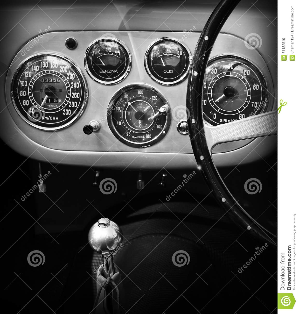1950s ferrari interior dashboard gauges editorial image image 61152810. Black Bedroom Furniture Sets. Home Design Ideas