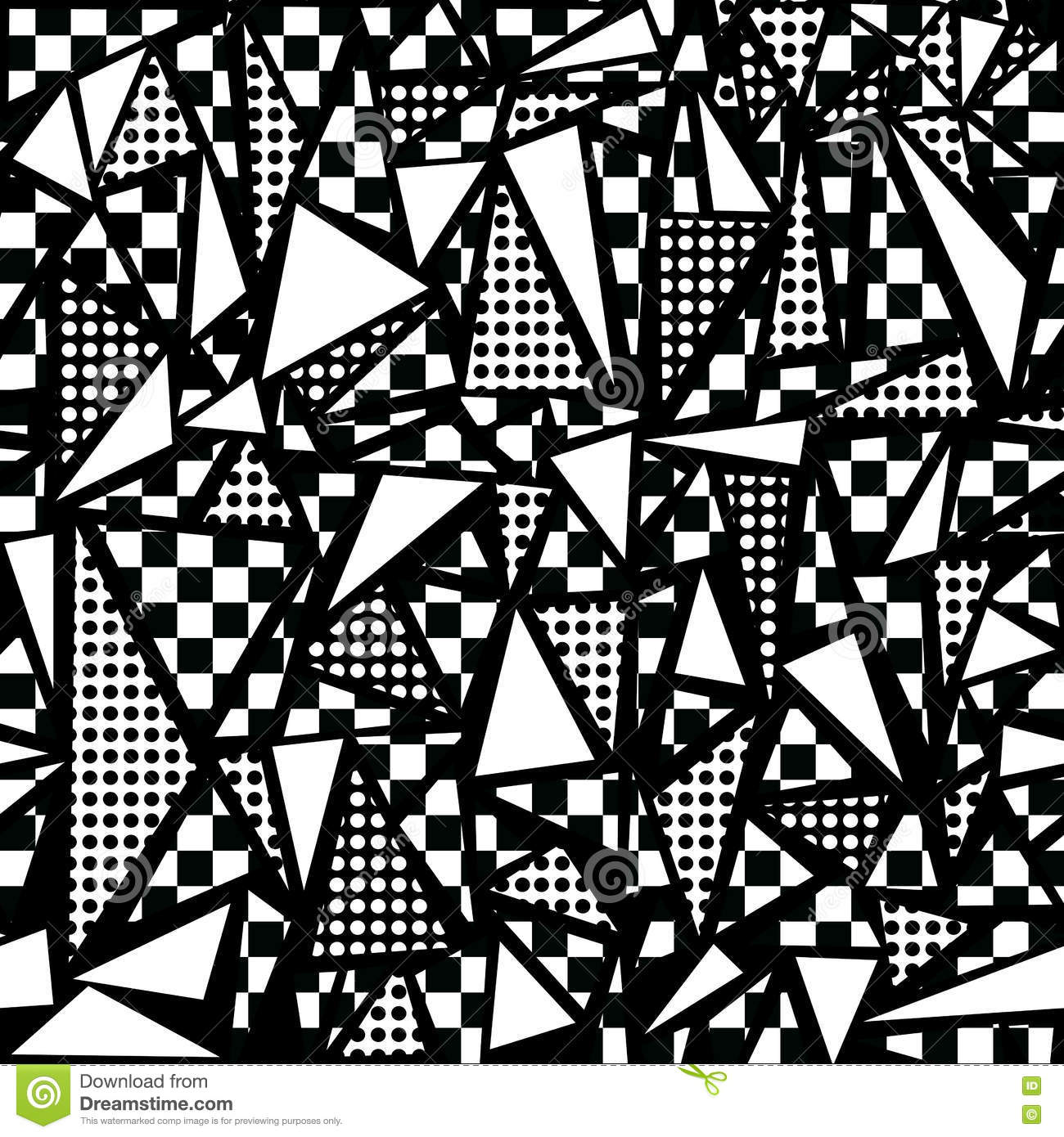 80s Geometric Seamless Pattern In Black And White Stock Vector ... for Geometric Shapes Design Black And White  166kxo