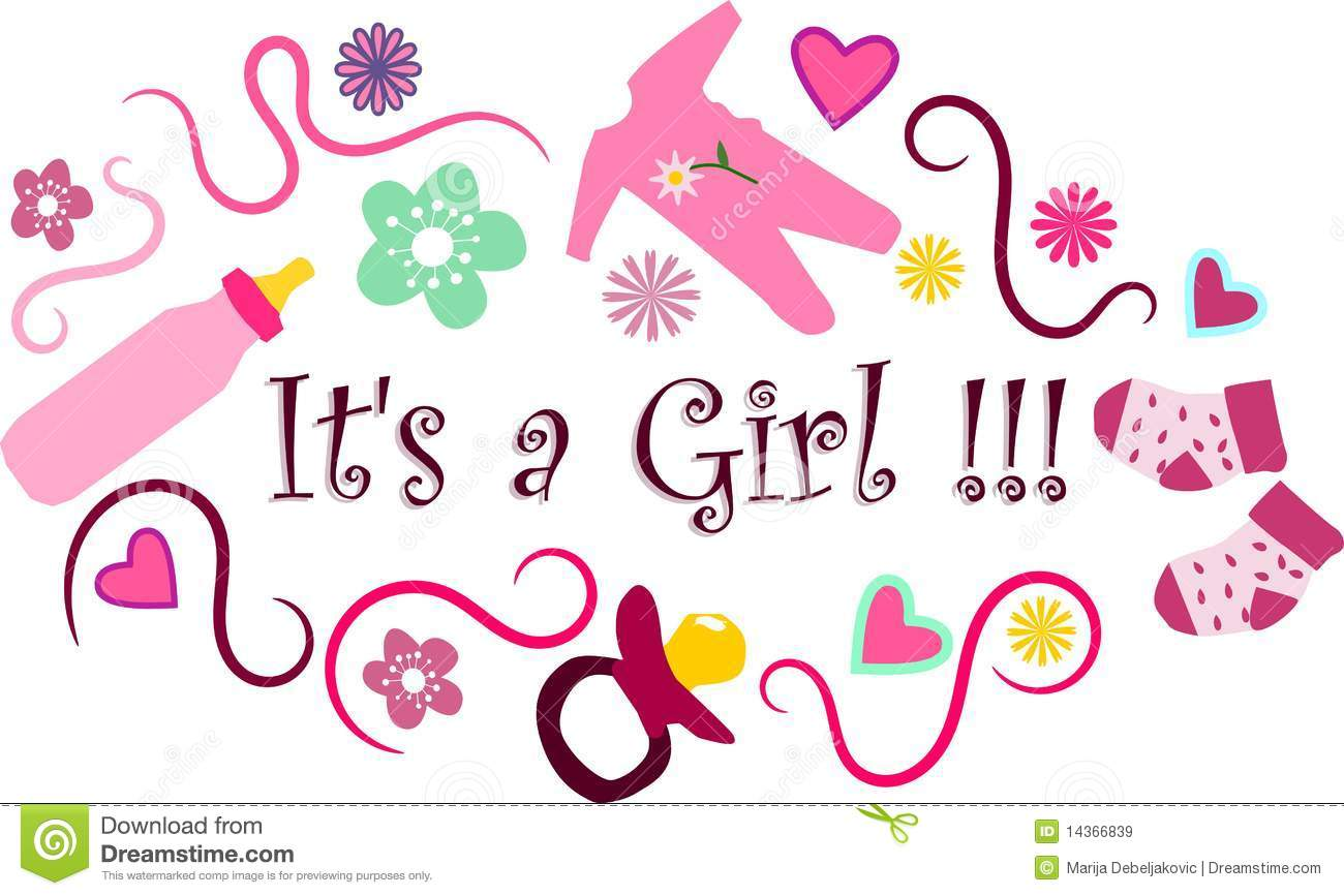 Abstract illustration of the it's a girl sign with a border with ...