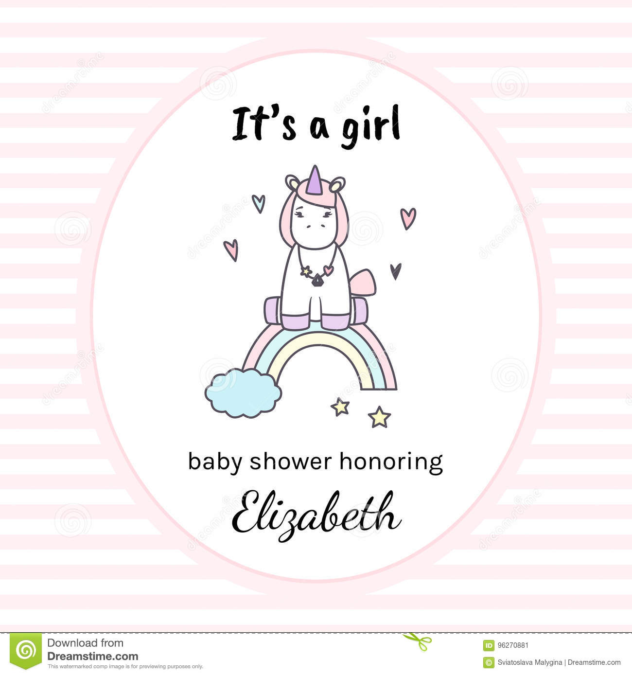 It S A Girl Baby Shower Invitation With Unicorn Stock Vector