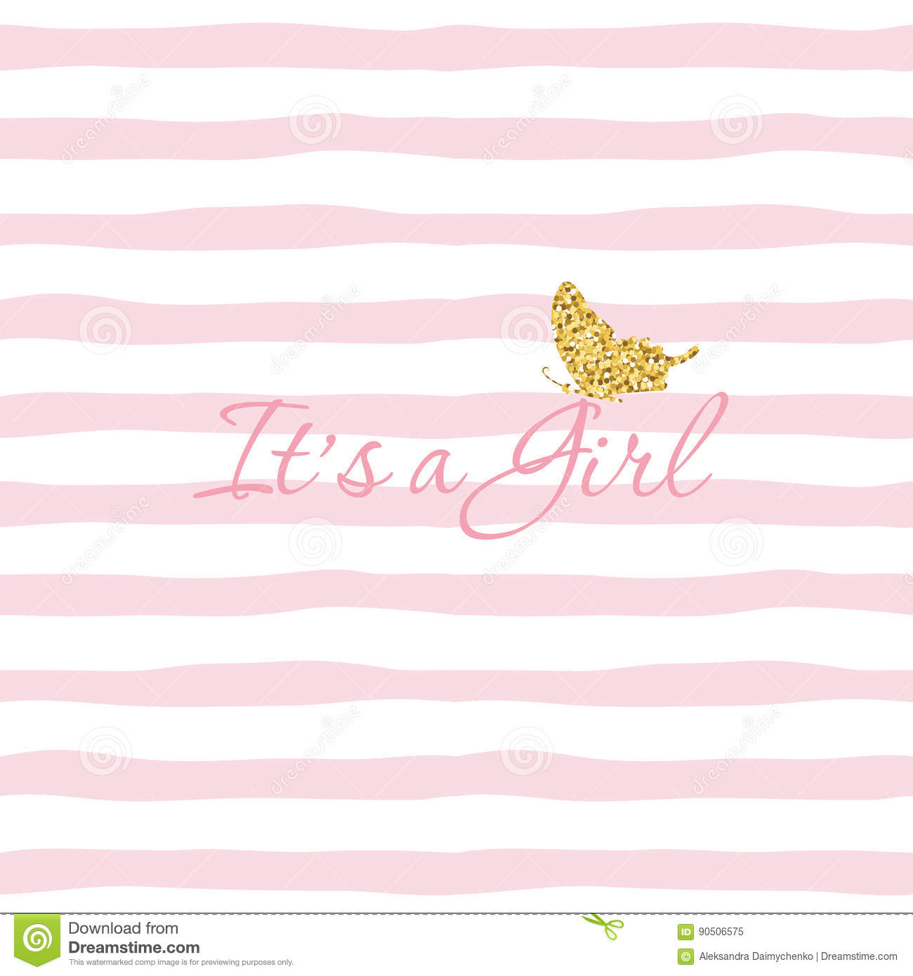 It S A Girl Baby Shower Template With Gold Glitter Butterfly On