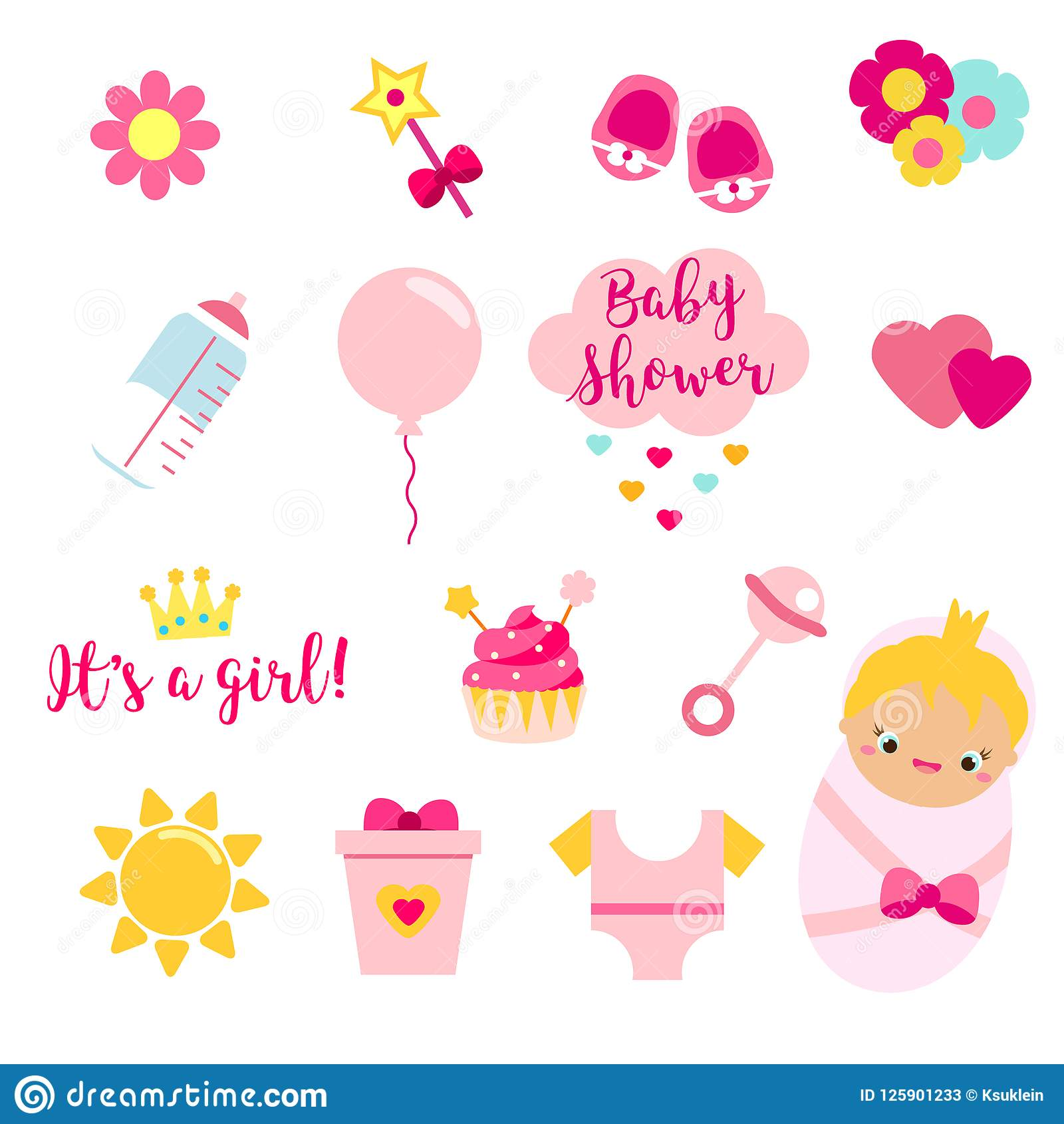 Its A Girl Set In Pink Colors Rattle Herat Text And Other Vector