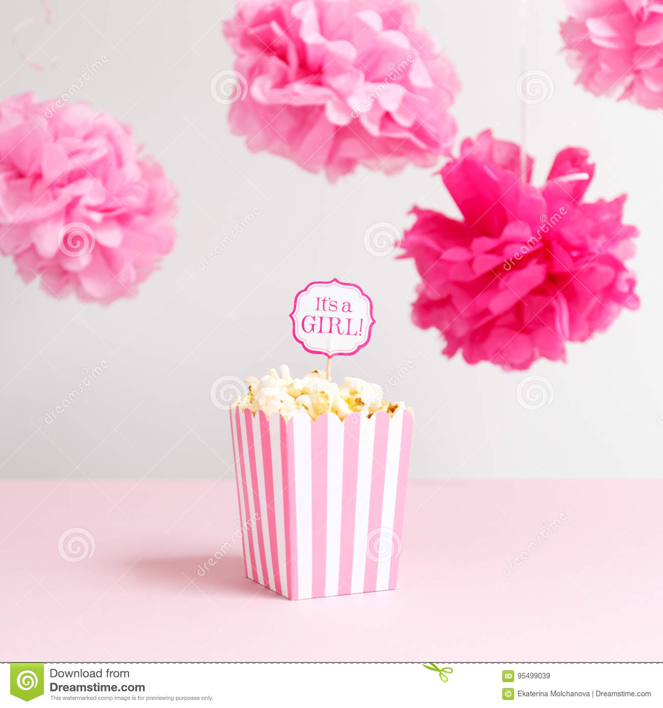 Its A Girl Sign In A Popcorn Bag At The Baby Shower Party Bab