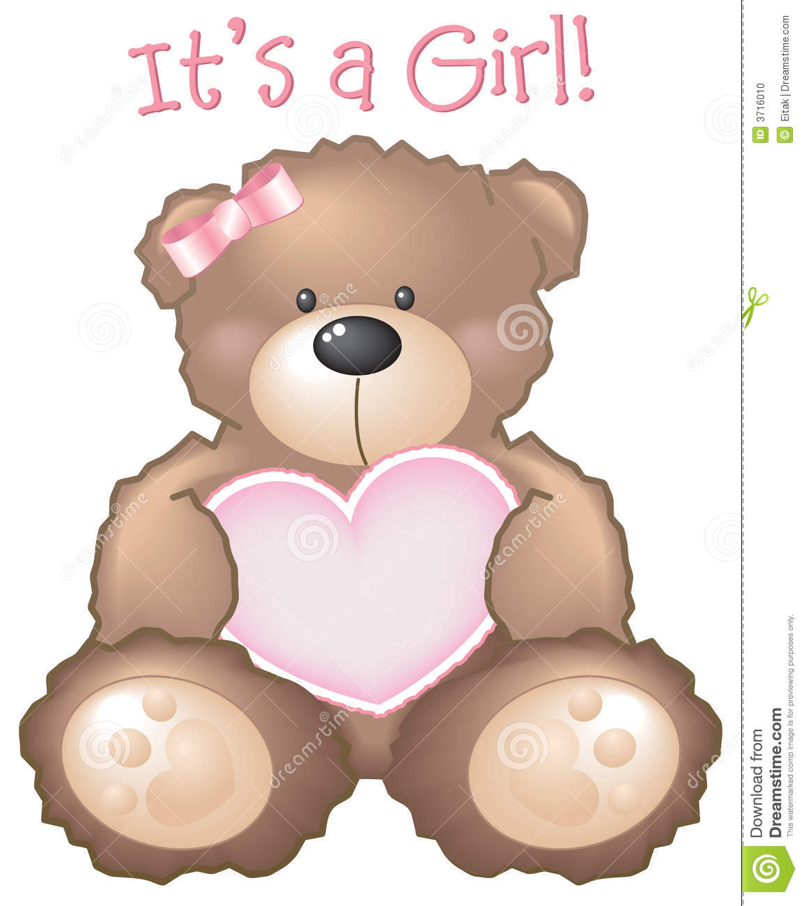 17252c4238cc It s A Girl! Teddy Bear Sign Stock Vector - Illustration of birth ...