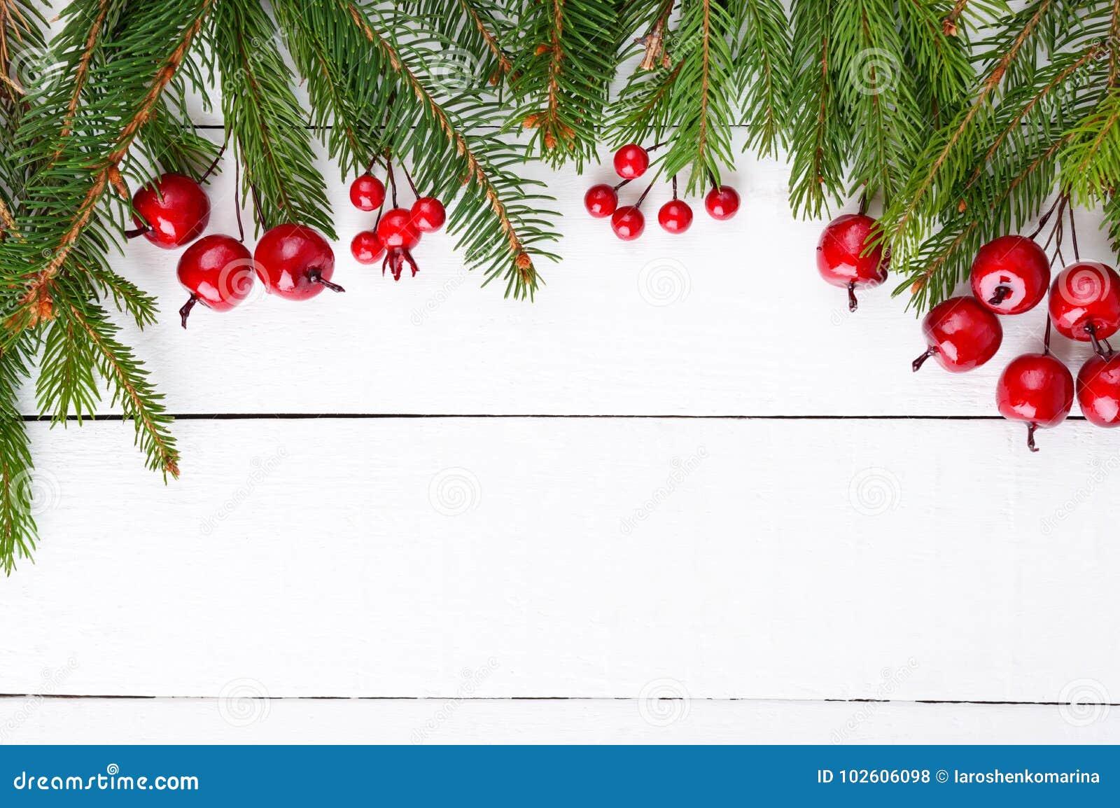 ` S, jultema för nytt år Grön gran förgrena sig, dekorativa bär på vit träbakgrund