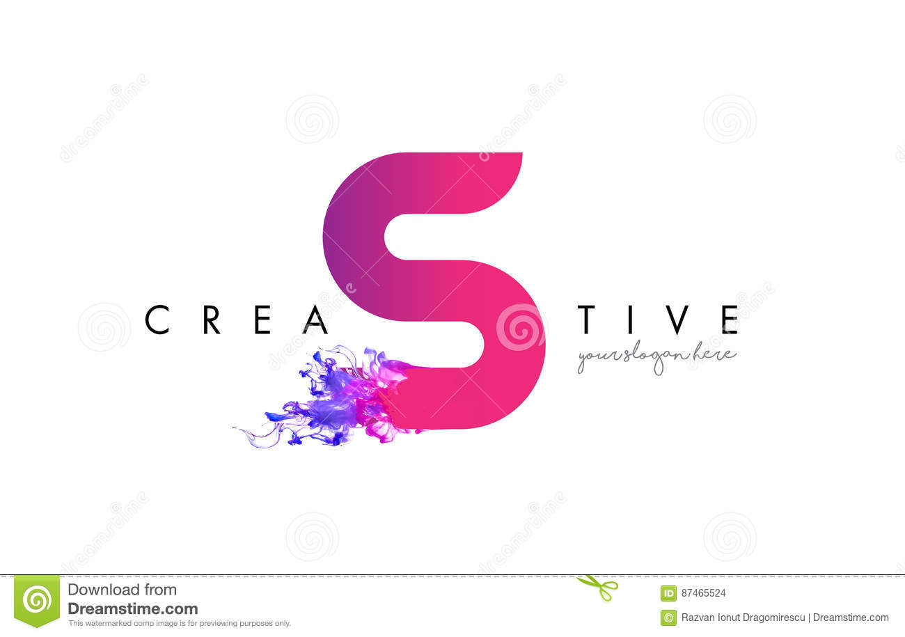 S Letter Logo Design With Ink Cloud Flowing Texture. Stock Vector ...