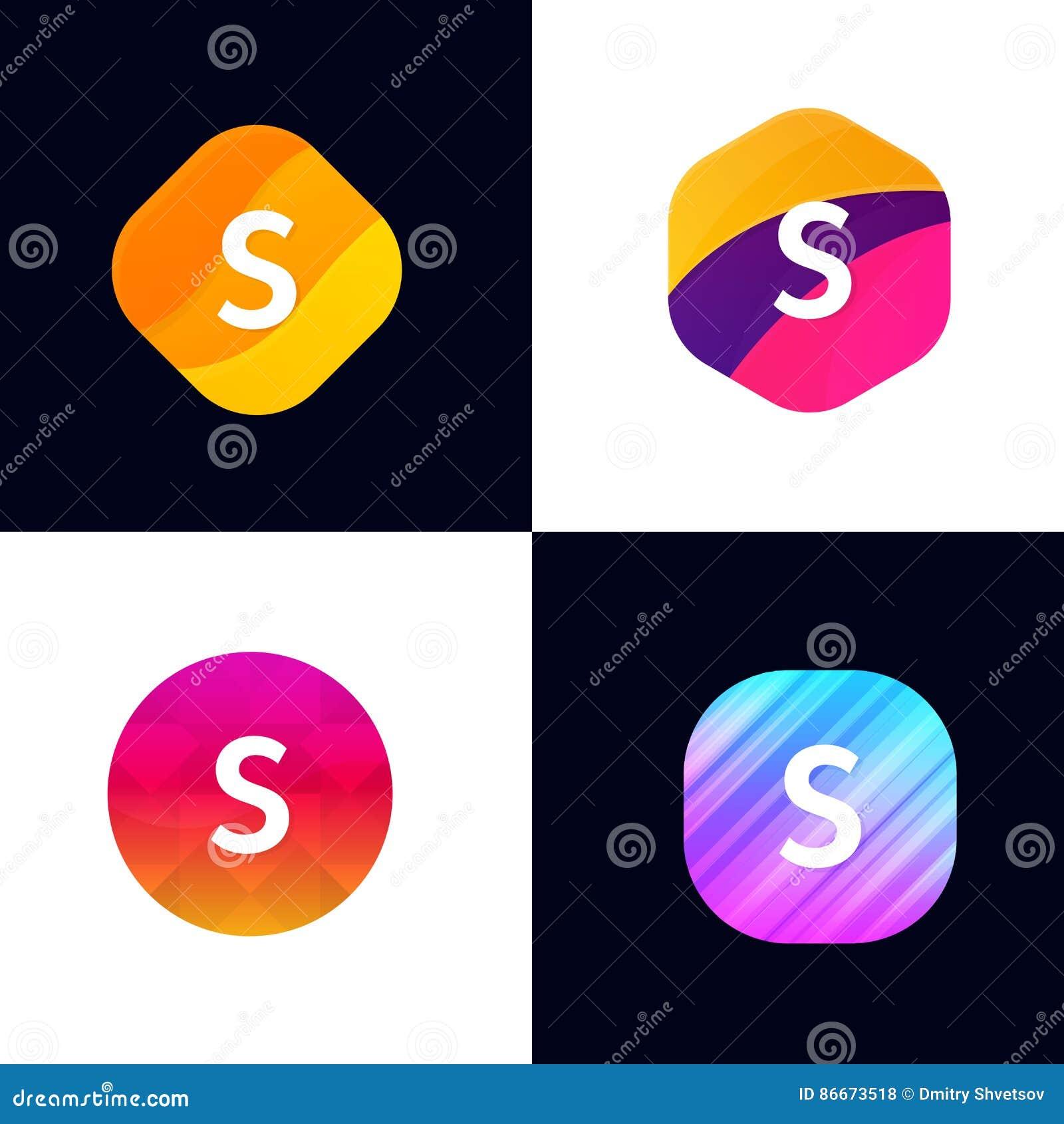 S Letter Vector Company Icon Signs Flat Symbols Logo Set Stock