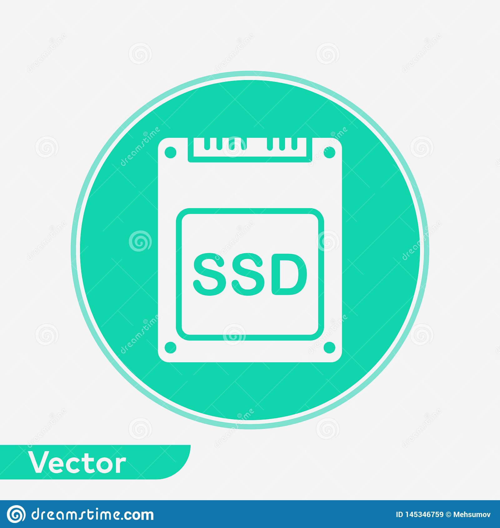 S?mbolo do sinal do ?cone do vetor do SSD