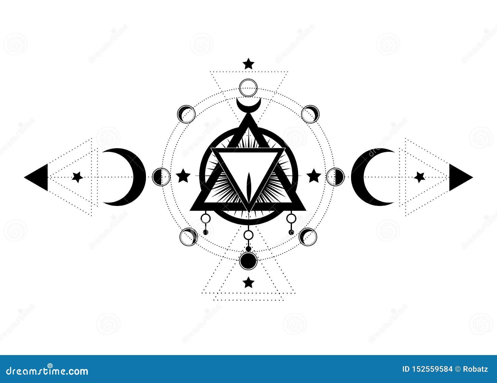 S?mbolo ma??nico A vagina sagrado dentro do ícone pagão da deusa da lua de Wicca da lua tripla Ilustra??o do vetor Tatuagem, a al