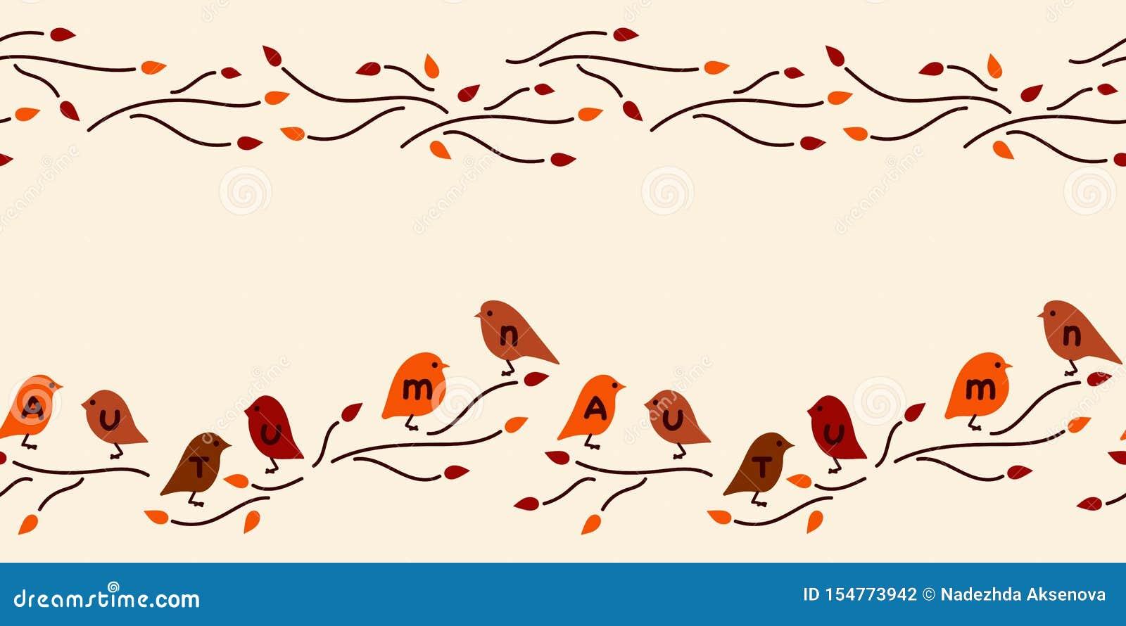 S?ml?s gr?ns f?r vektor Höst utdragen inskrift för hand, gulliga fåglar
