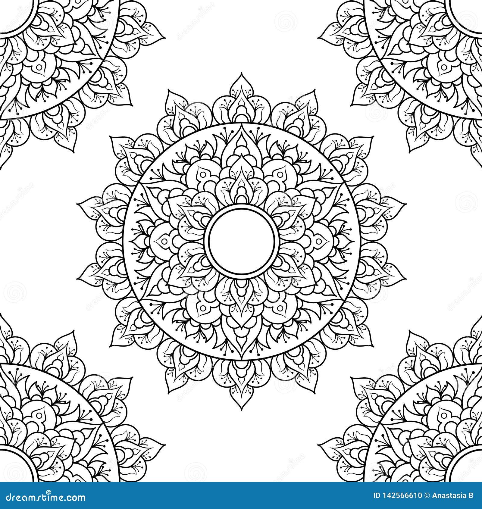 S?ml?s modellmandalaprydnad Blom- mandala dekorativ elementtappning Hand dragen orientalisk bakgrund blom-