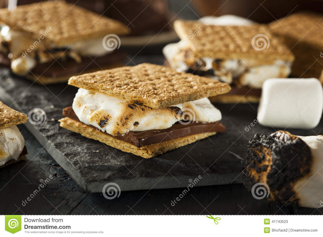 S mores with Marshmallows Chocolate and Graham Crackers