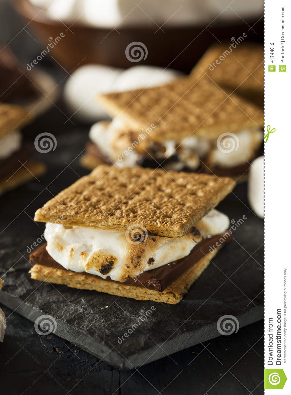 Homemade S'mores with Marshmallows Chocolate and Graham Crackers.