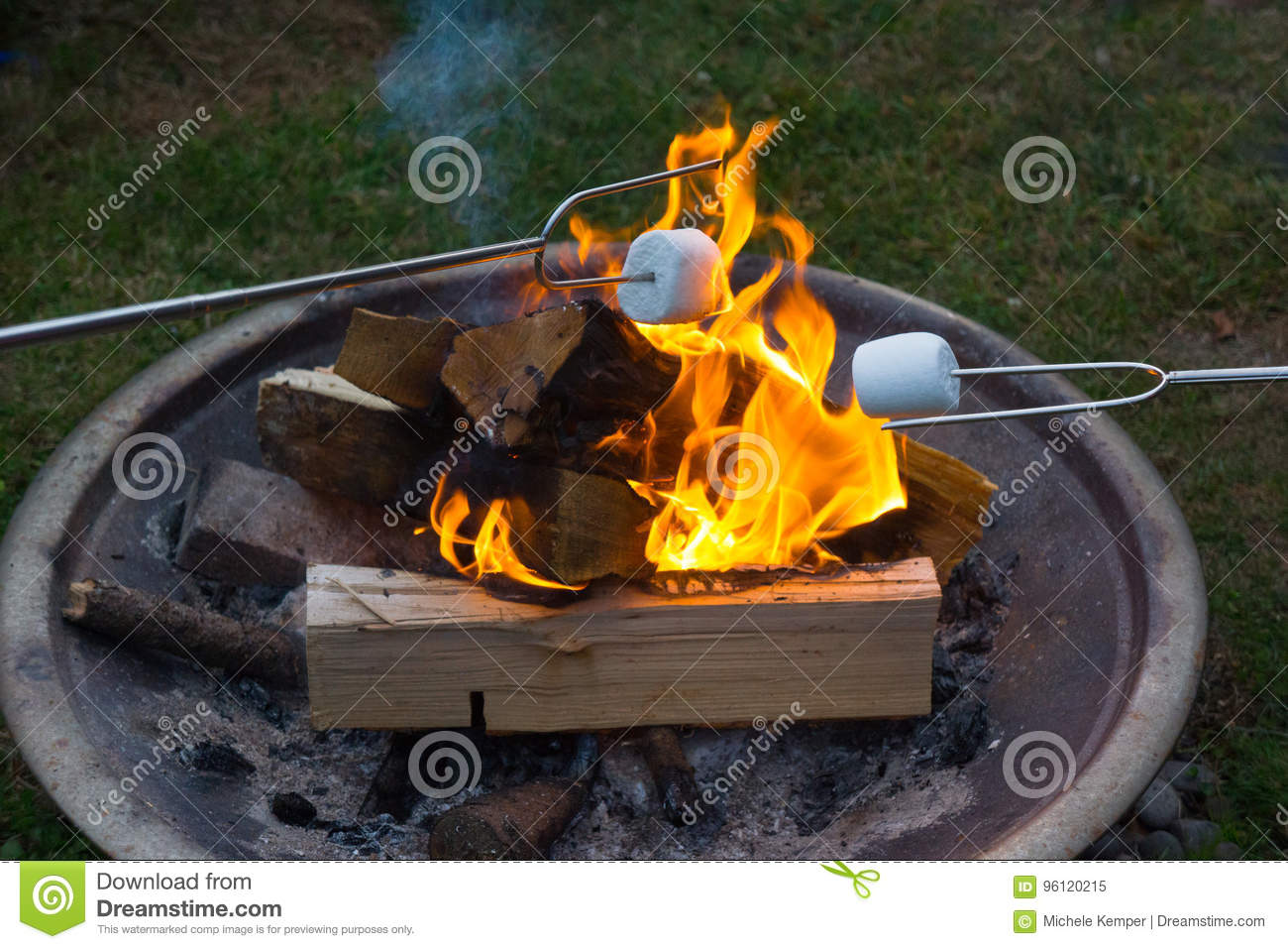 smores roasting over open fire stock image image of marshmallows