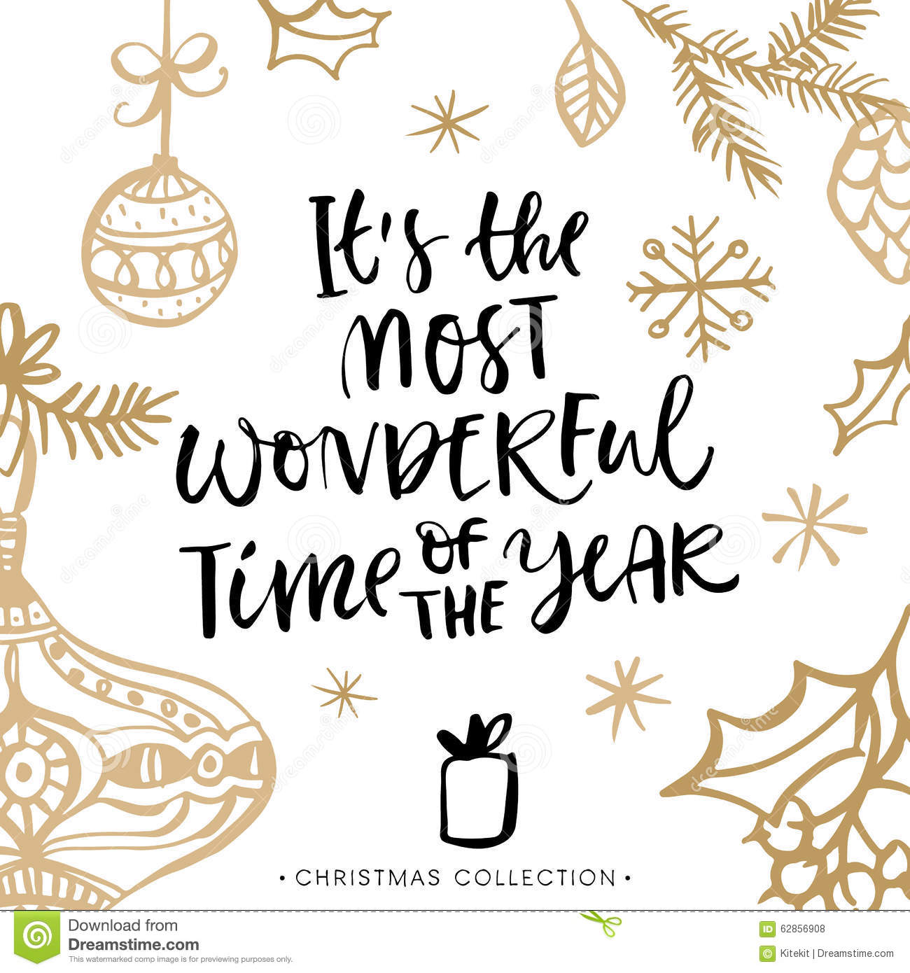 It's the most wonderful time of the year! Christmas greeting card with ...