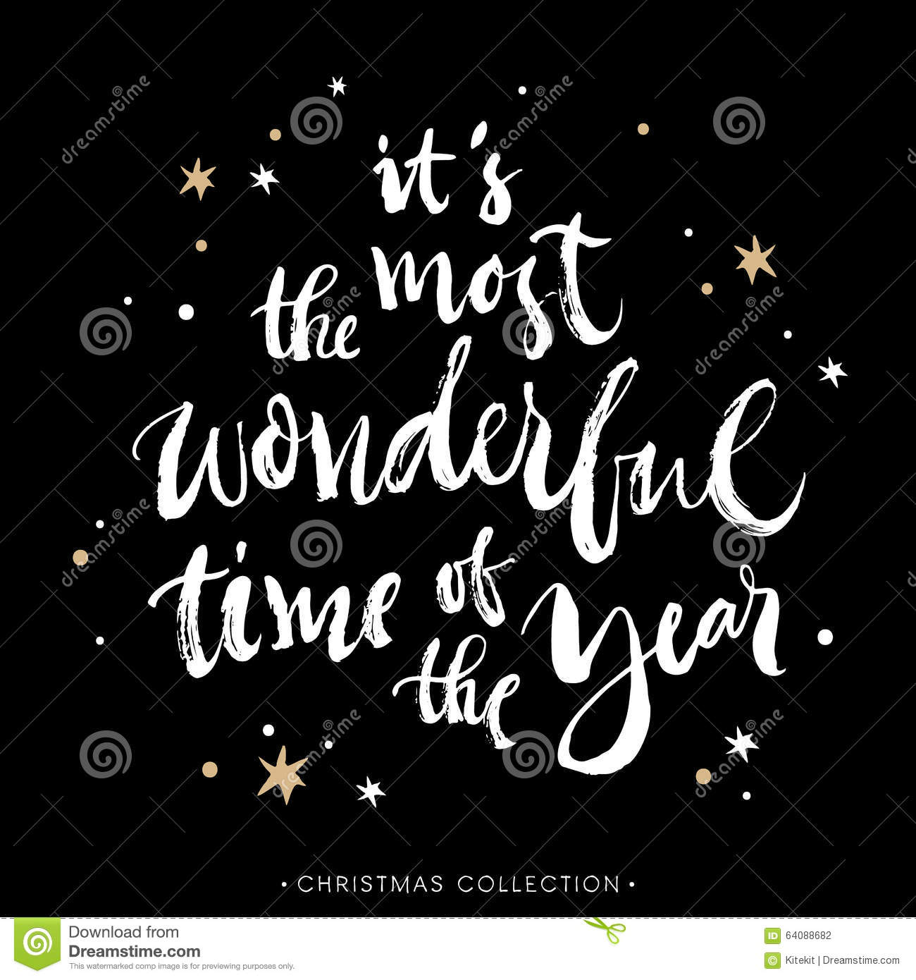 It S The Most Wonderful Time Of The Year Christmas Card Stock Vector Illustration Of Phrase Happy 64088682