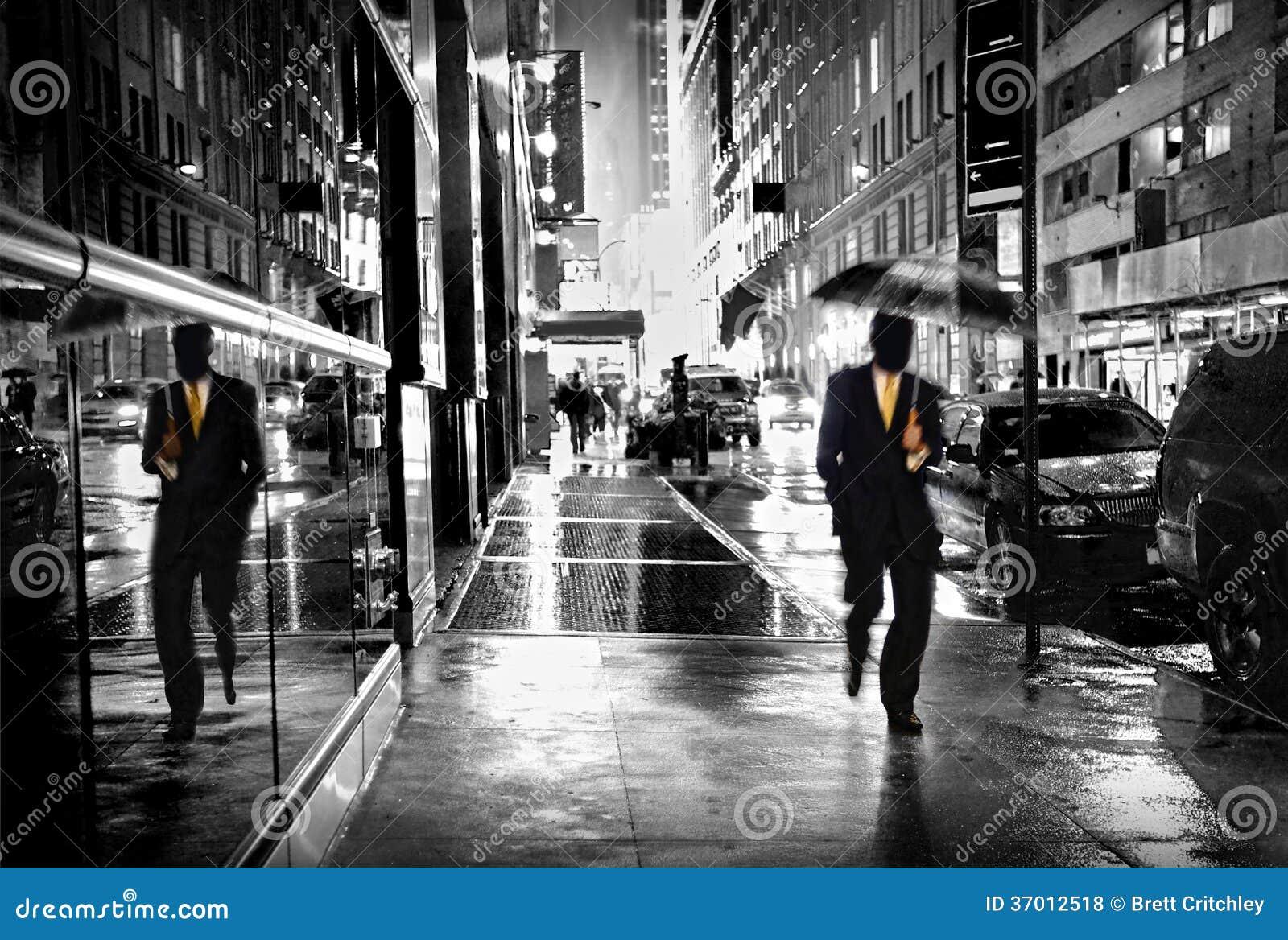 s nachts de straat van Manhattan