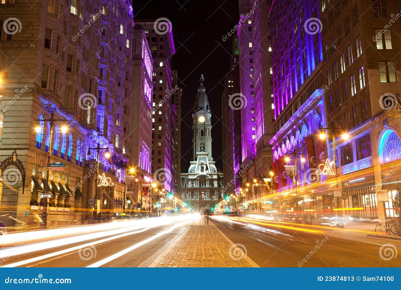 s nachts de straten van Philadelphia