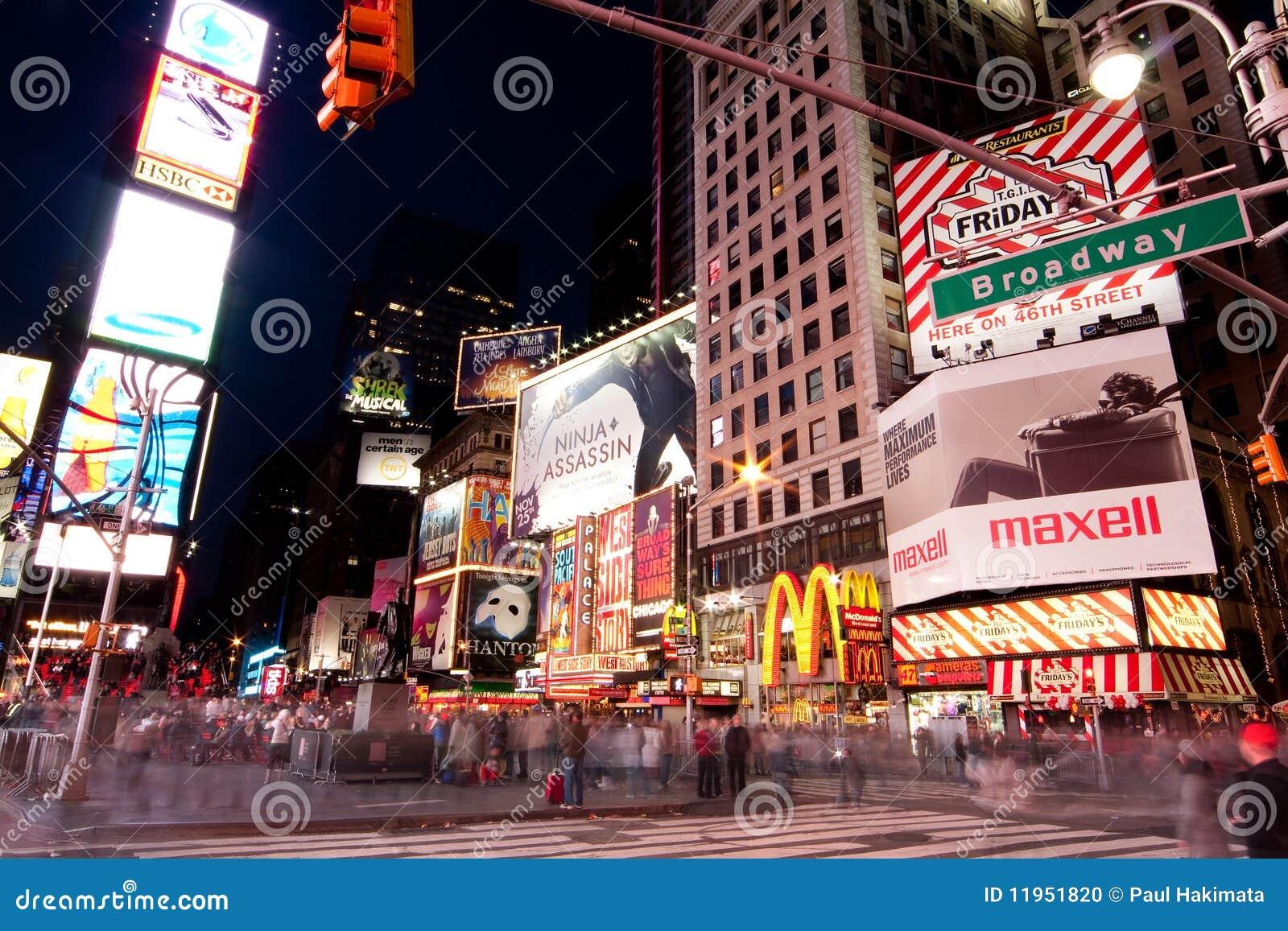 s nachts het Vierkant van Broadway af en toe