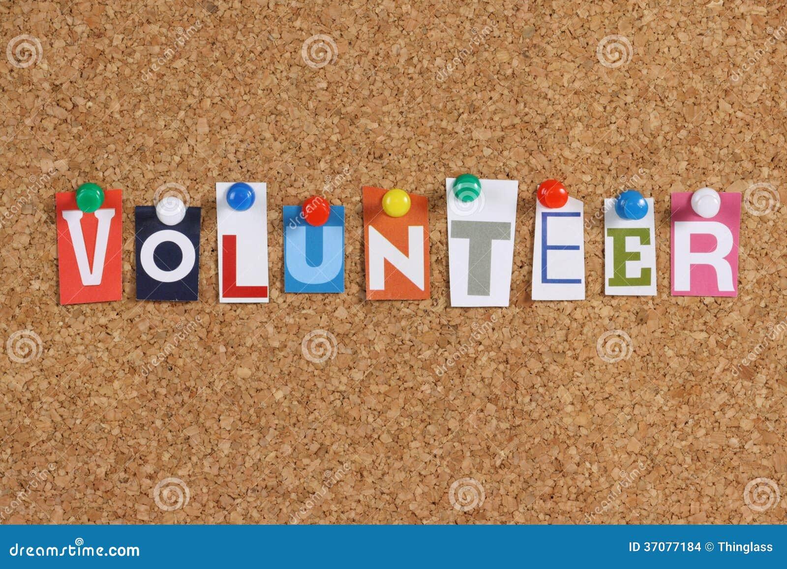 Download Słowo wolontariusz zdjęcie stock. Obraz złożonej z praca - 37077184