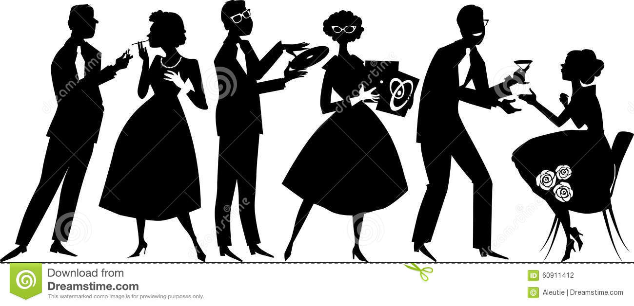 1950s party goers