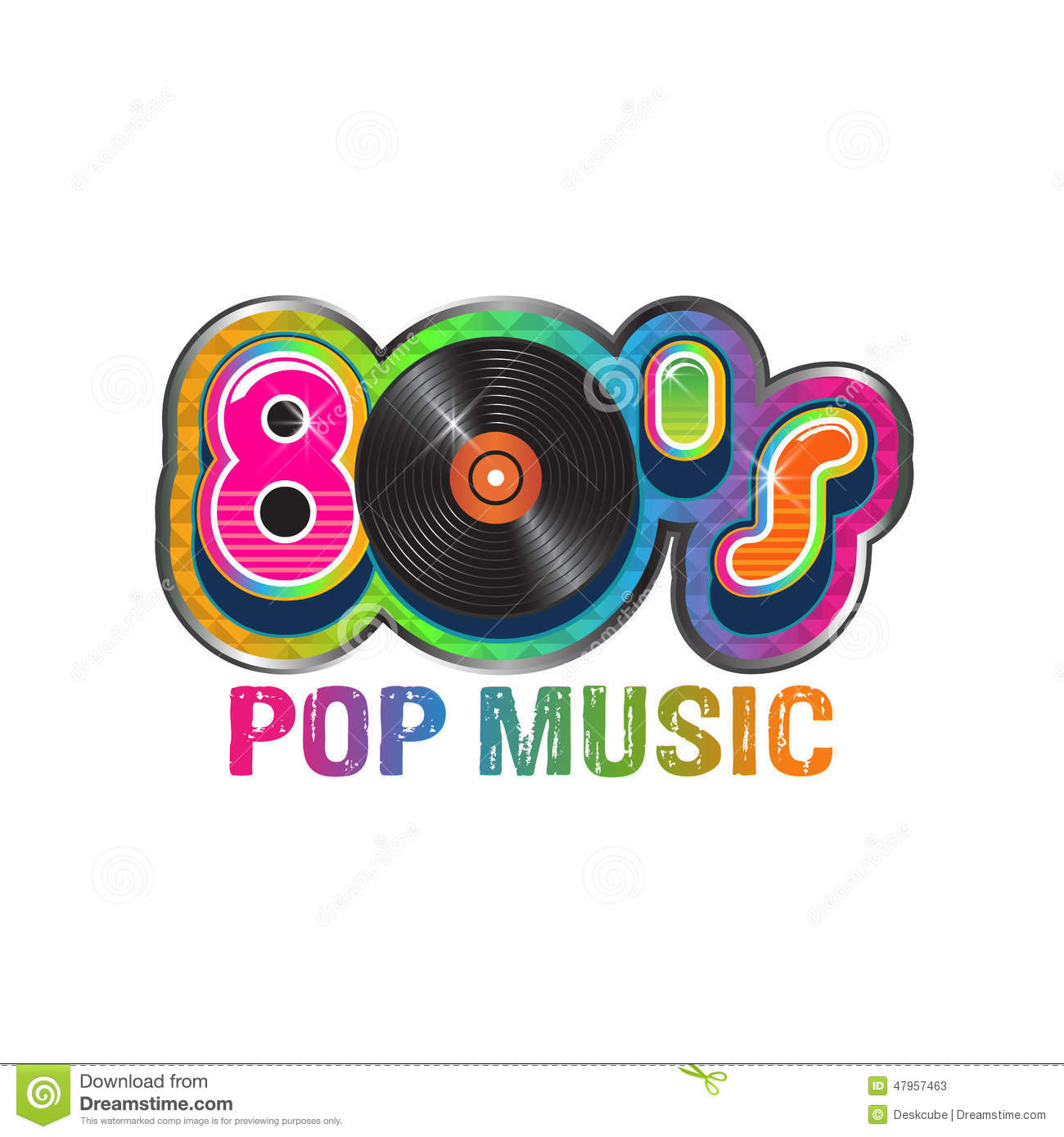 80s Pop Music Vinyl Disc Stock Vector Image 47957463
