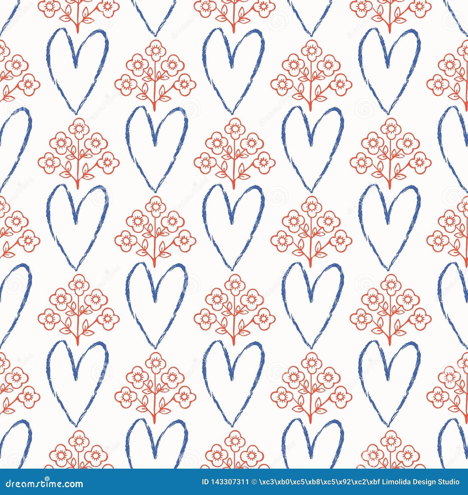 1950s Projektują Retro miłości wektoru Kierowego Kwiecistego Bezszwowego wzór Ręka Rysujący Ludowy kwiat