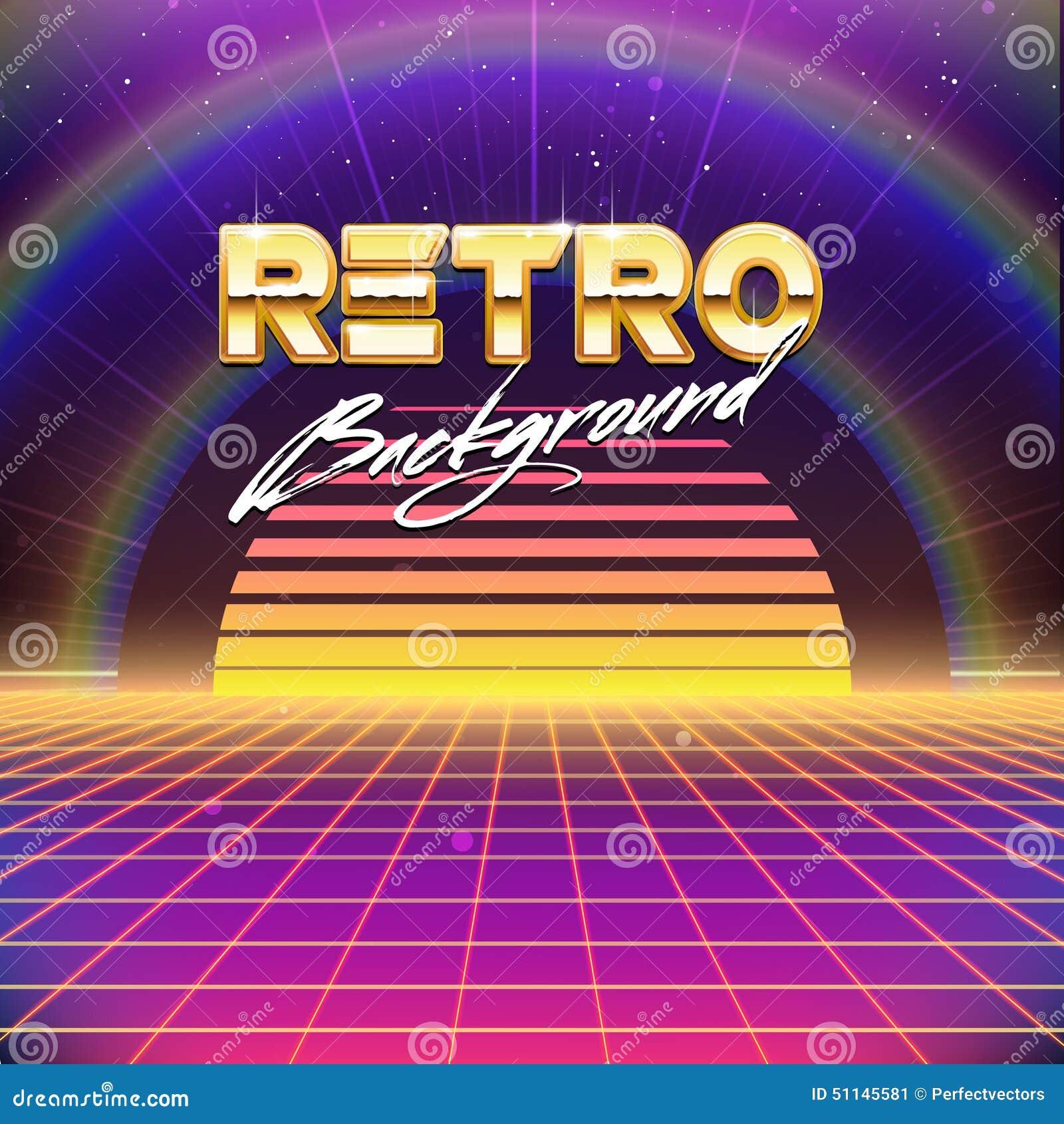Vintage Science Fiction Wallpaper Google Search: 80s Retro Futurism Sci-Fi Background Stock Vector