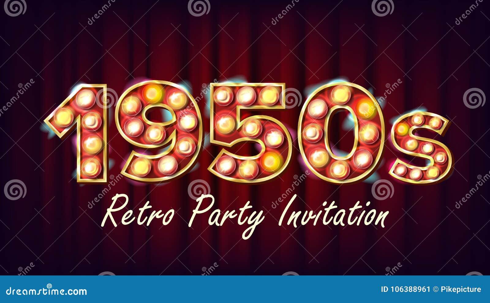 1950s Retro Party Invitation Vector. 1950 Style Design. Shine Lamp Bulb. Glowing Digit. Illuminated Retro Poster, Flyer