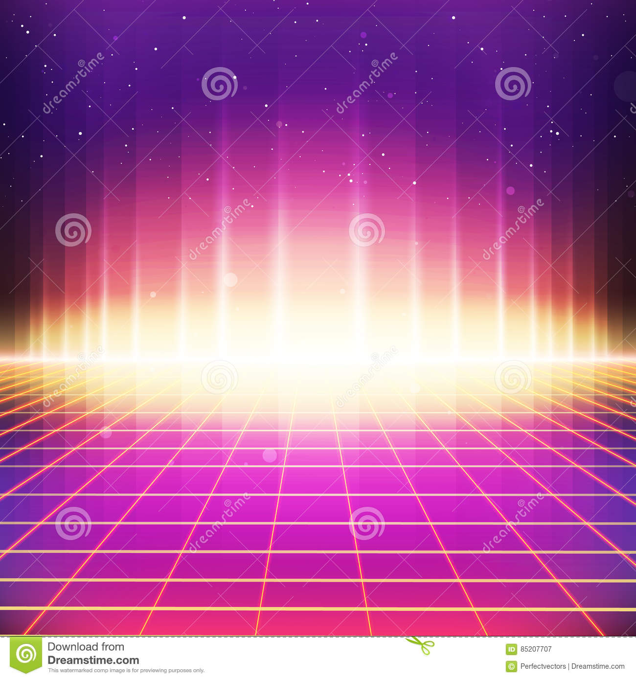 80s Retro Sci-Fi Background with Colorful Effects