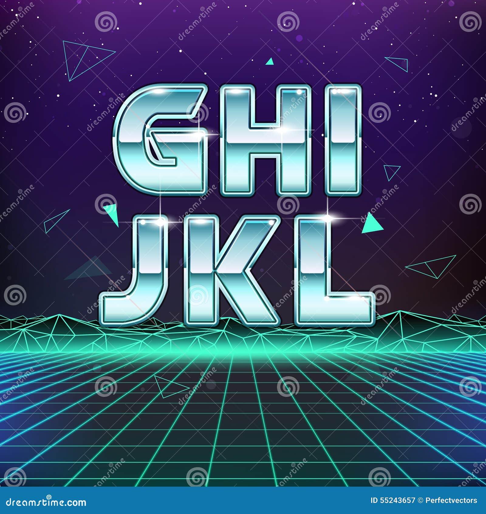 Digitalrevolution Blog Retro Sci Fi: 80s Retro Sci-Fi Font From G To L Stock Vector