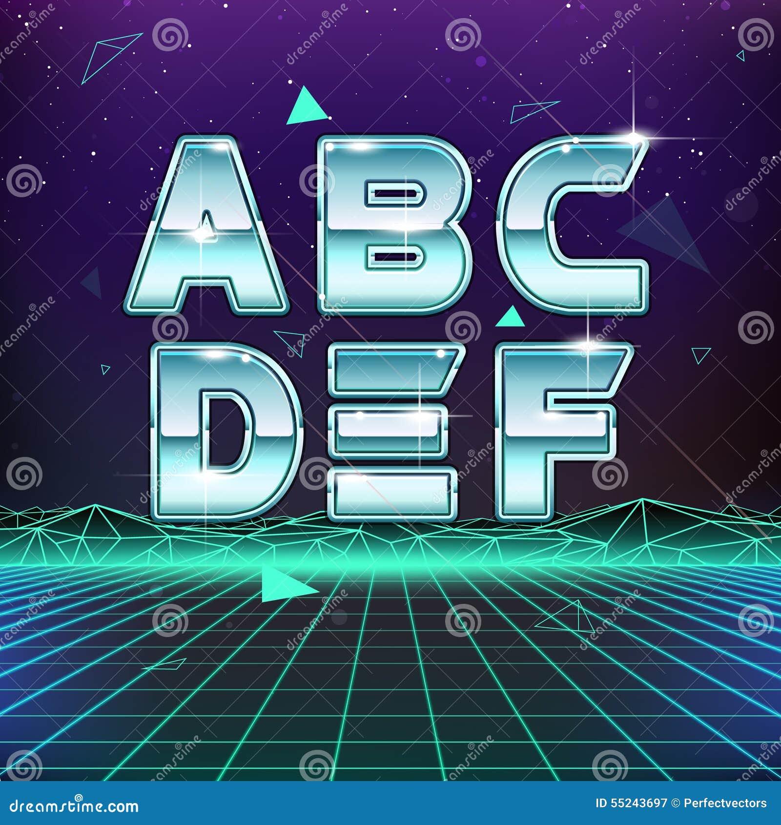 Digitalrevolution Blog Retro Sci Fi: 80s Retro Sci-Fi Font From A To F Stock Vector