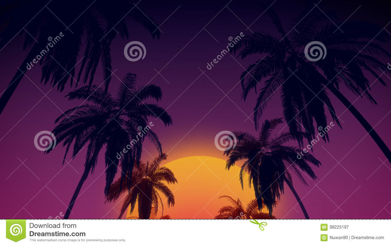 80`s retro style background with tropical coconut trees and sunset from 3d render
