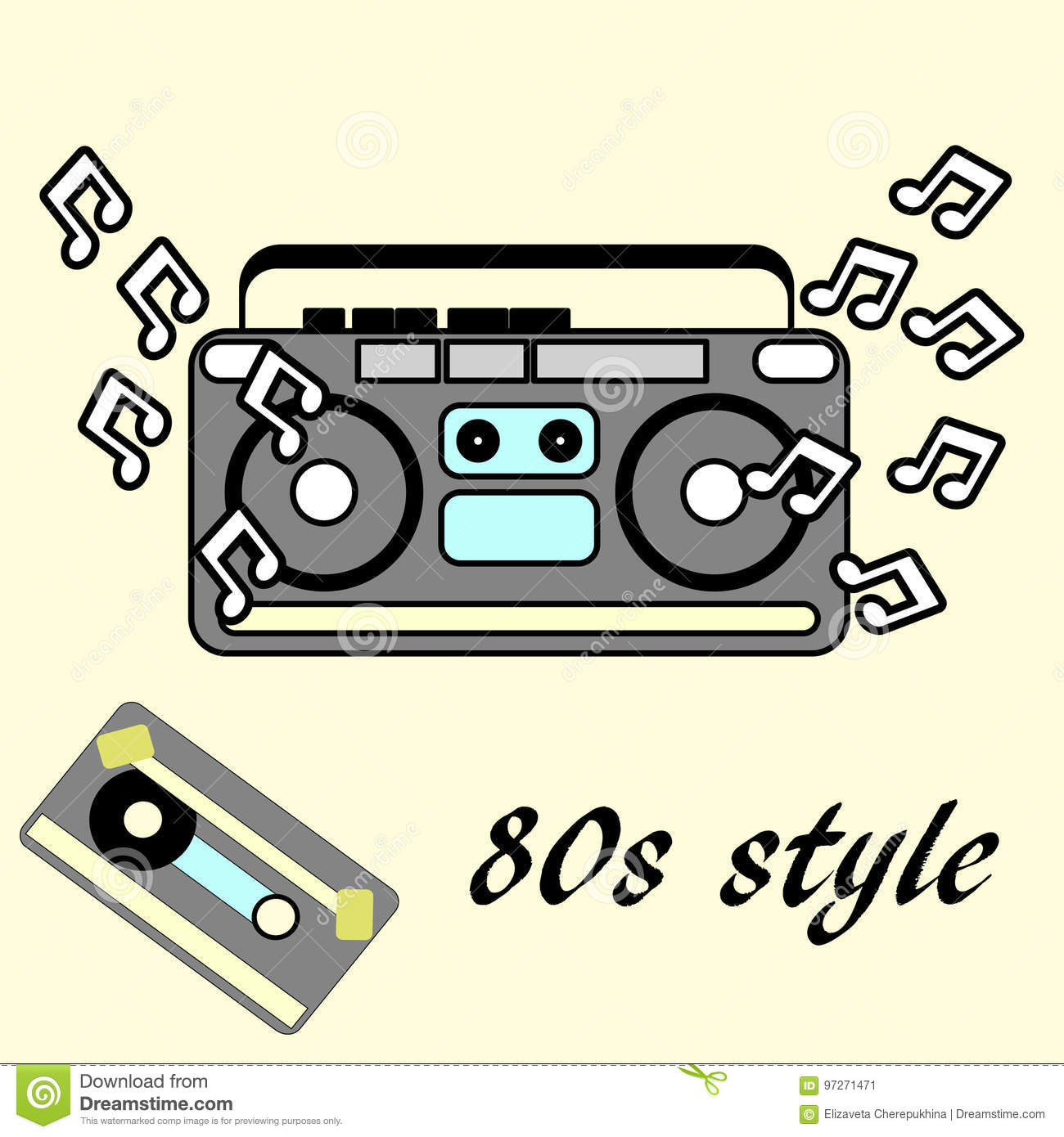 80s Retro Style Vintage Retro 80 S Flyer 1980 Disco Stock Vector