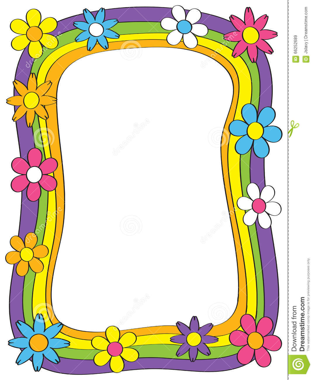 60s 70s Border stock vector  Illustration of flower, bright - 66252689